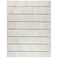 Contemporary White Shearling Rug with Tan Leather Stripes