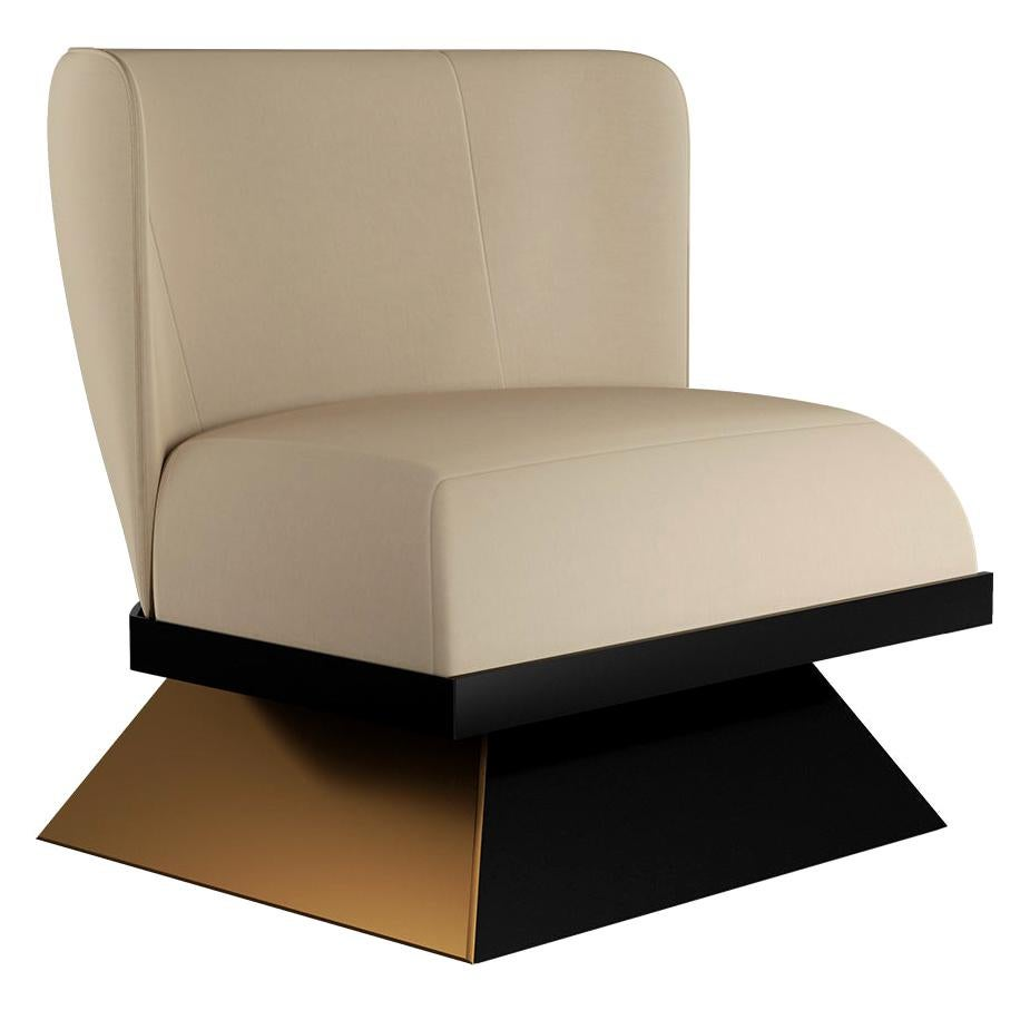 21th Century Contemporary White Velvet Armchair with Black & Gold Base