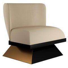 Contemporary White Velvet Armchair with Black Metal Legs