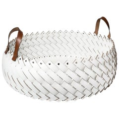 Contemporary White Woven Leather Almeria Basket with Handles