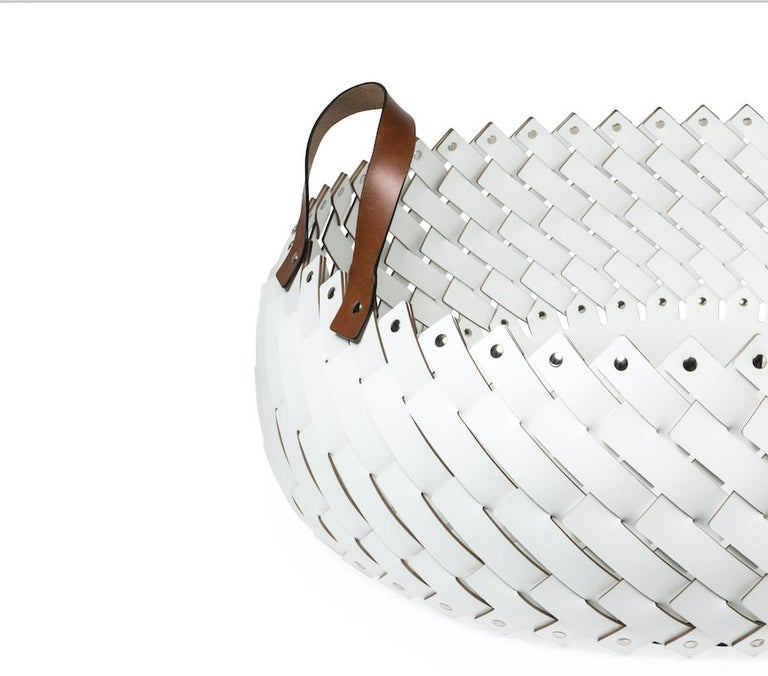 Italian Contemporary White Woven Leather Almeria Pinetti Basket with Handles For Sale