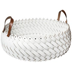 Contemporary White Woven Leather Almeria Pinetti Basket with Handles
