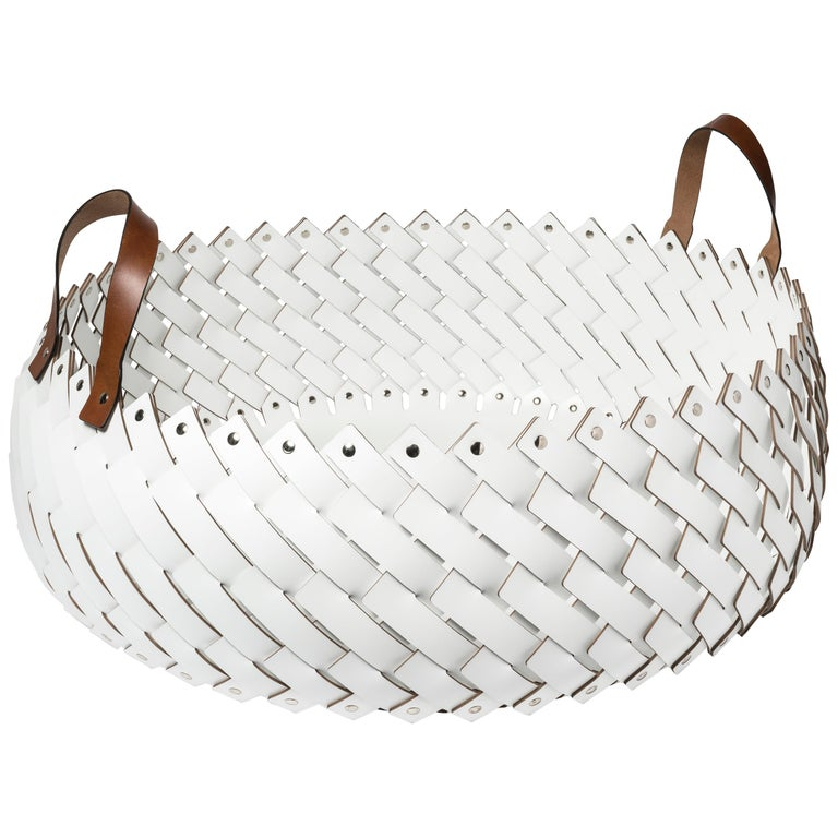 Contemporary White Woven Leather Almeria Pinetti Basket with Handles For Sale
