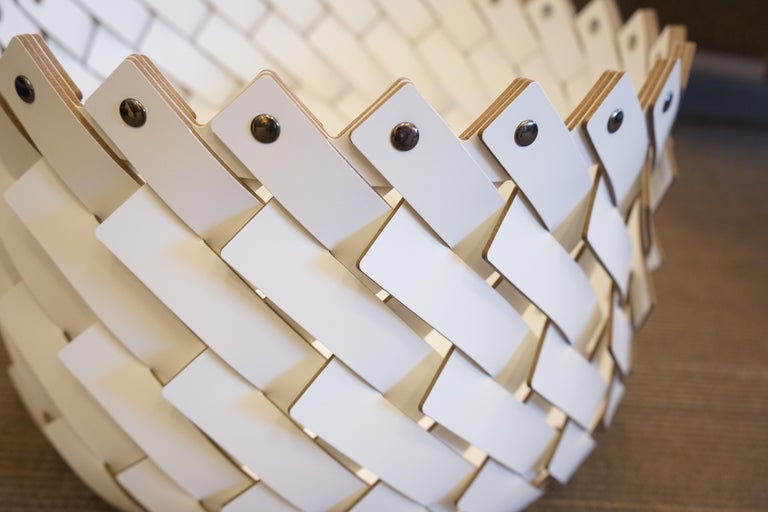 Contemporary White Woven Leather Almeria Small Basket 1