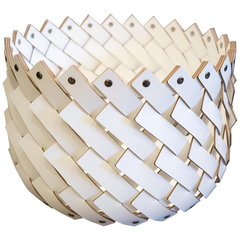 Contemporary White Woven Leather Almeria Small Basket