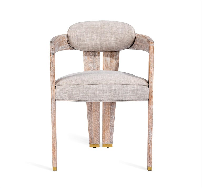 Modern Contemporary Whitened Oak Dining Chair in Beige Linen with Brass Details For Sale