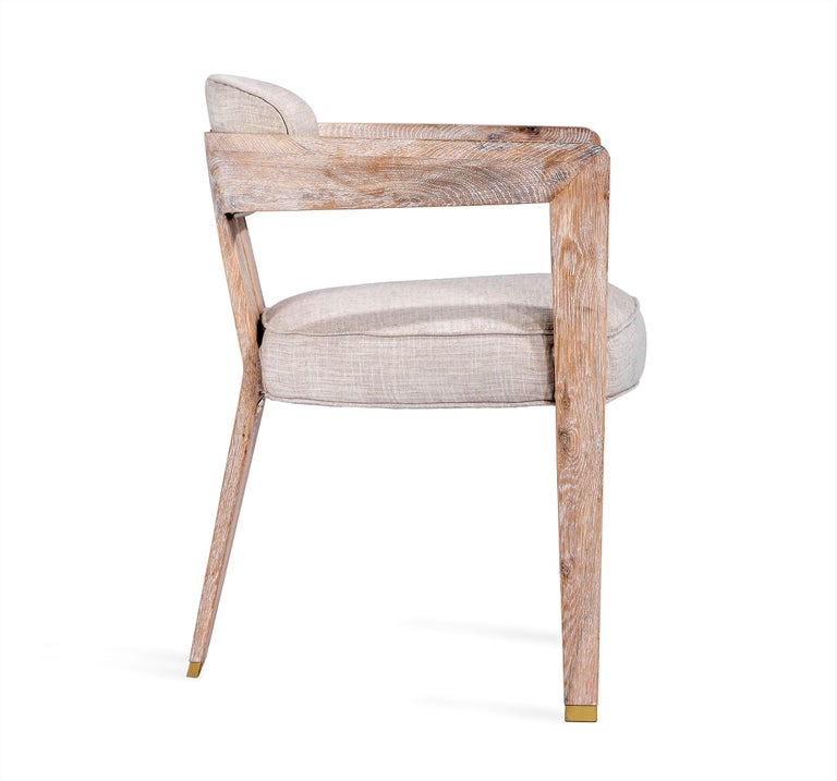 Vietnamese Contemporary Whitened Oak Dining Chair in Beige Linen with Brass Details For Sale