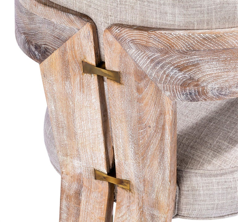 Contemporary Whitened Oak Dining Chair in Beige Linen with Brass Details In New Condition For Sale In New York, NY