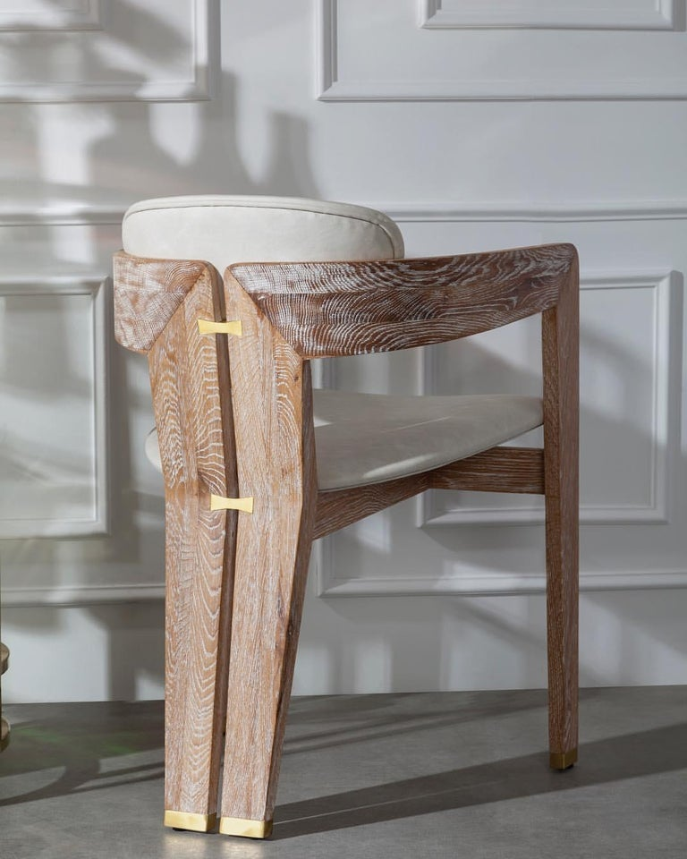 Contemporary Whitened Oak Dining Chair in Beige Linen with Brass Details For Sale 2