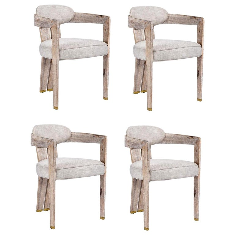 Contemporary Whitened Oak Dining Chair in Beige Linen with Brass Details For Sale