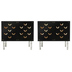 Contemporary Wood and Dark Glass Pair of Sideboards Designed by L.A. Studio
