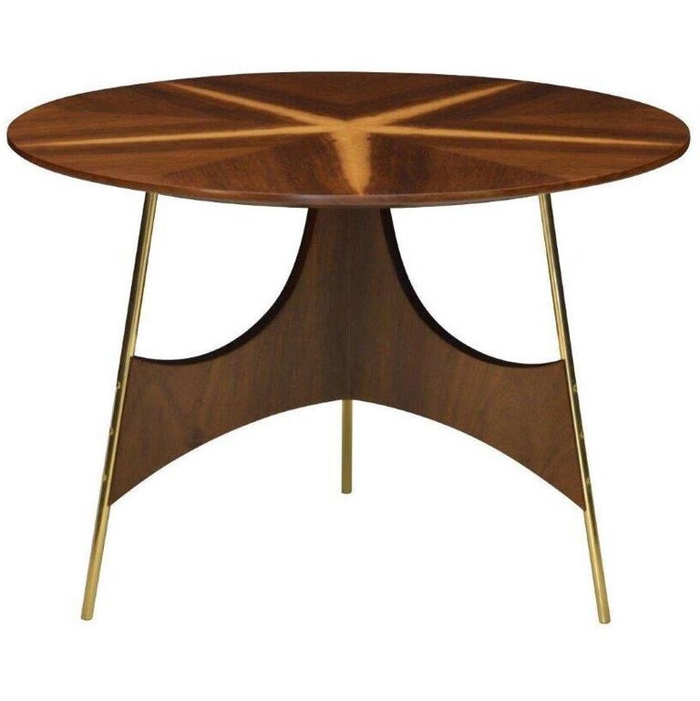 Contemporary Wood and Metal Side Table For Sale