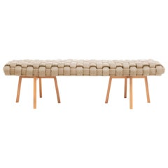 "Contemporary Wood Bench, Handwoven Upholstery, the ""Trama"" CRU"