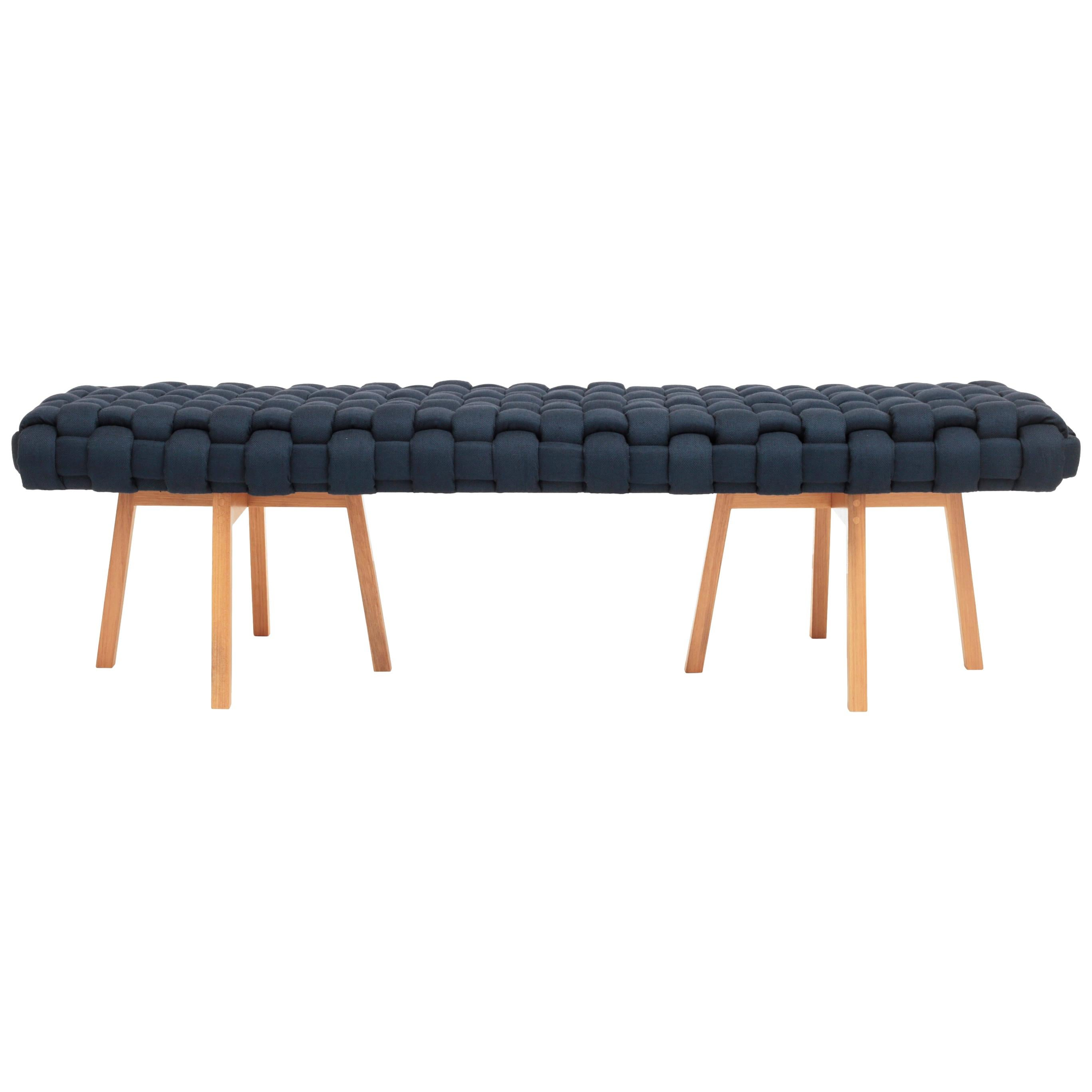 """Contemporary Wood Bench, Handwoven Upholstery - the """"Trama"""" - Navy"""