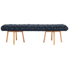 "Contemporary Wood Bench, Handwoven Upholstery - the ""Trama"" - Navy"
