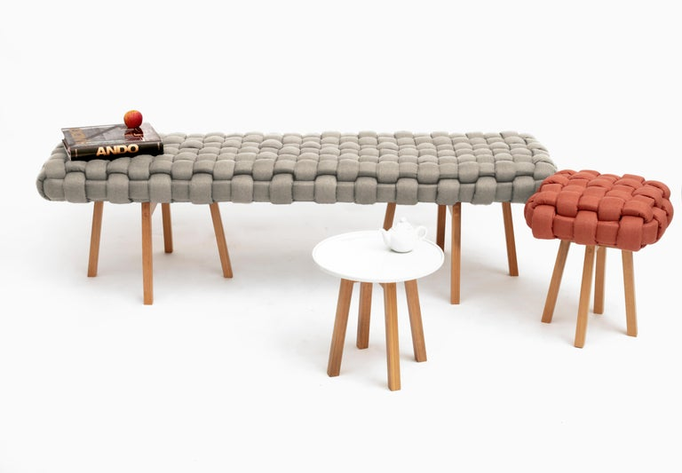 Contemporary Wood Bench, Handwoven Upholstery, the