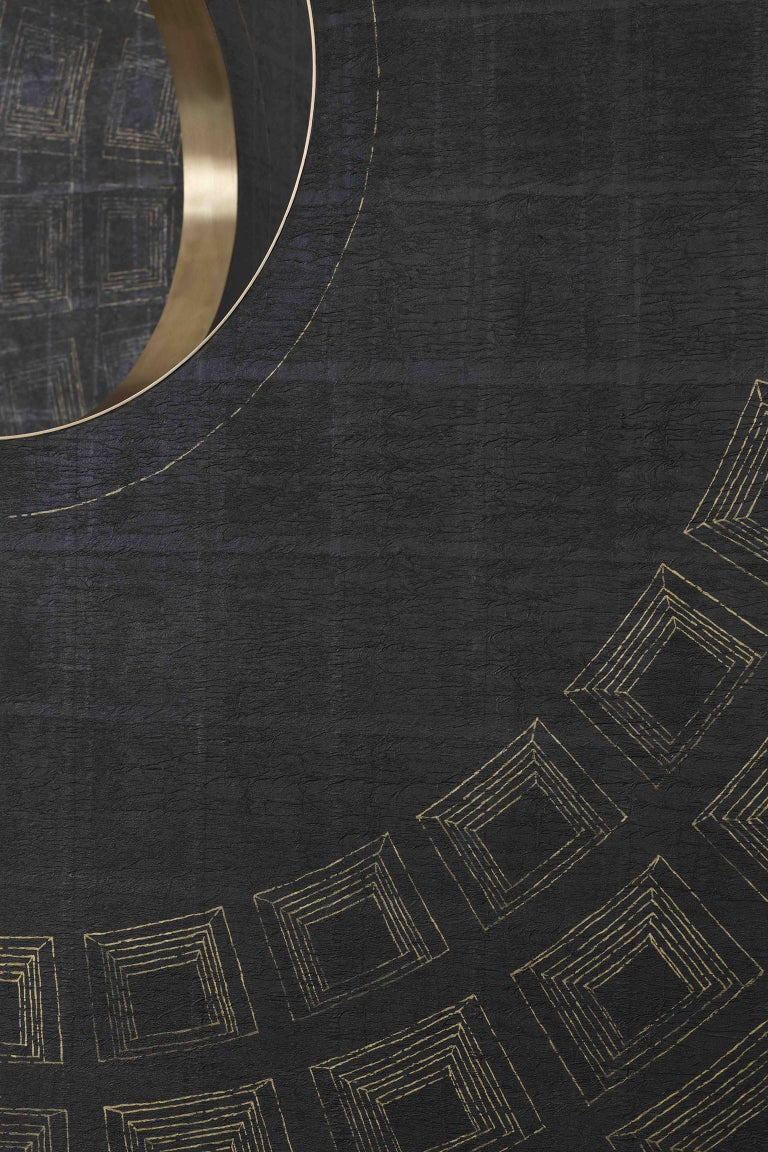 Contemporary Wood, Brass and Handmade Wallpaper Screen For Sale 4