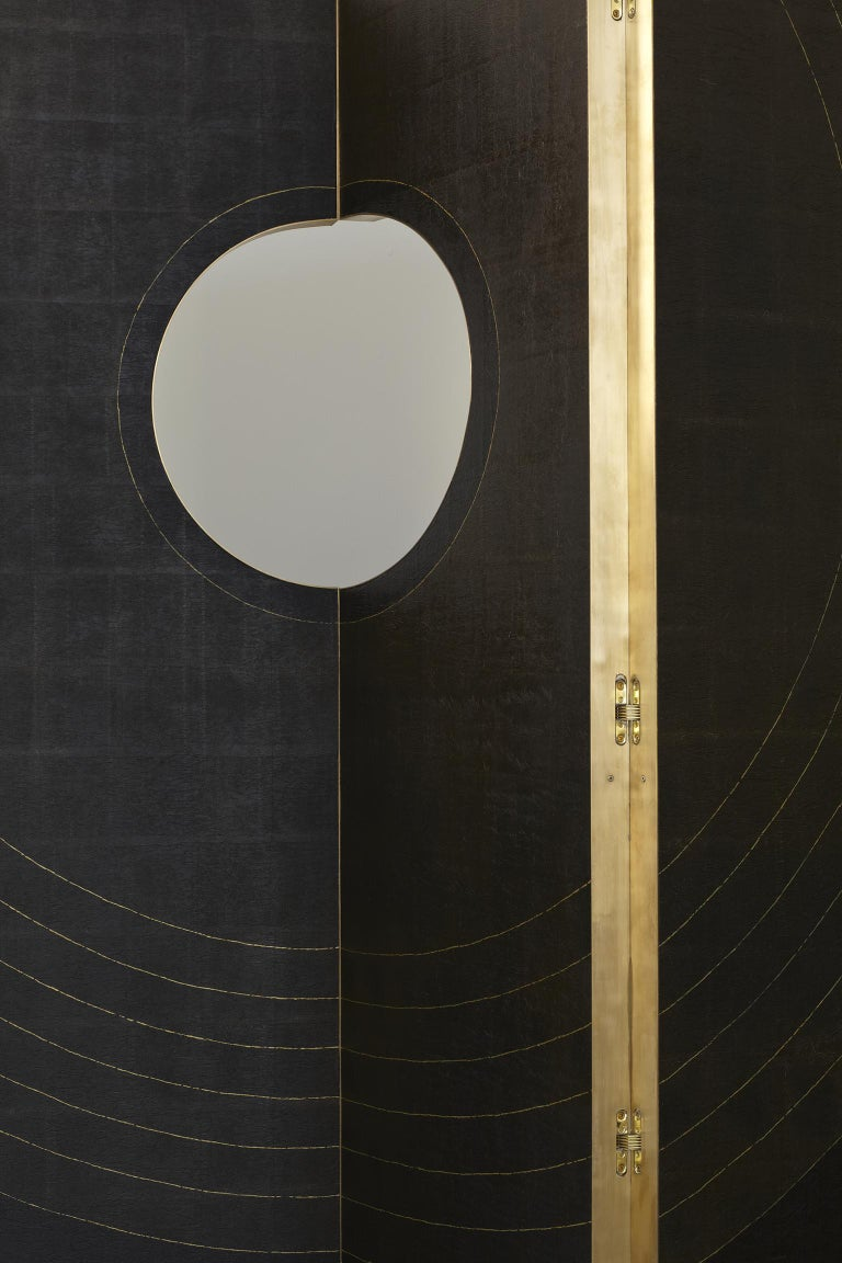 Hand-Crafted Contemporary Wood, Brass and Handmade Wallpaper Screen For Sale