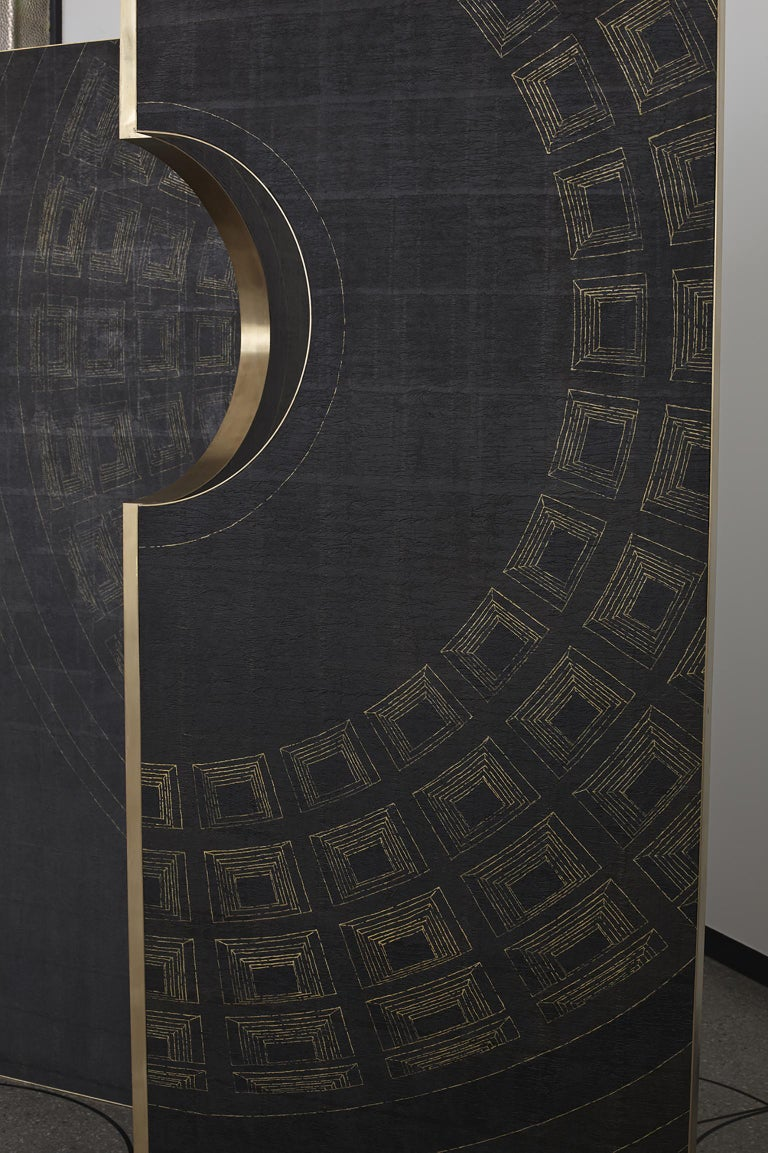 Contemporary Wood, Brass and Handmade Wallpaper Screen For Sale 3