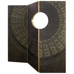 Zeitgenössische Holz, Messing und handgefertigten Tapeten Bildschirm