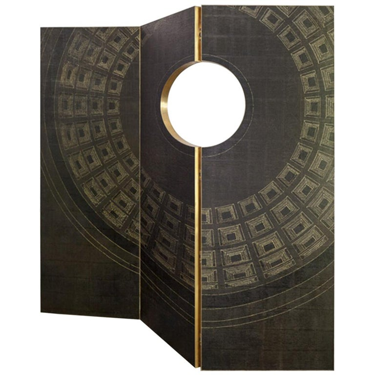 Contemporary Wood, Brass and Handmade Wallpaper Screen For Sale