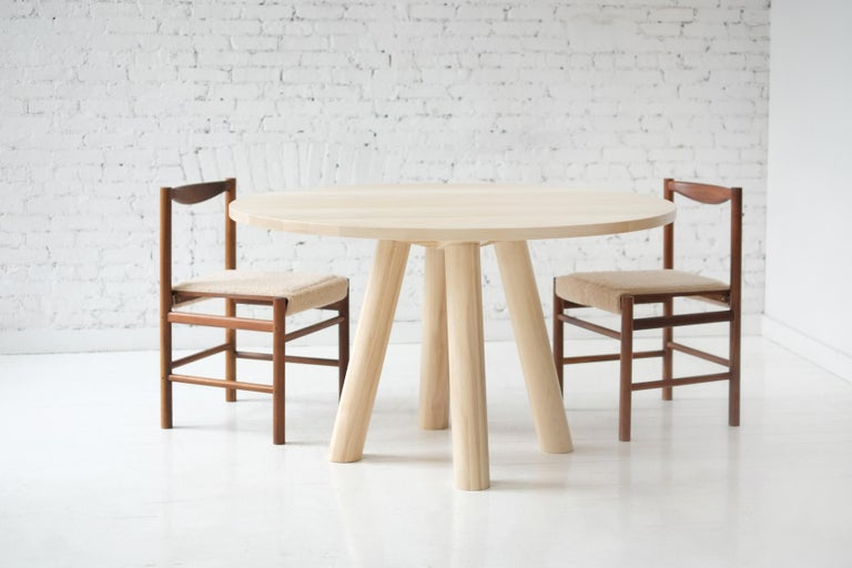 American Contemporary Wood Round Column Dining Table in White Oak by Fort Standard For Sale
