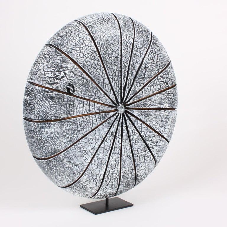 Minimalist Contemporary Wood Sculpture, Parasélène Blanc For Sale
