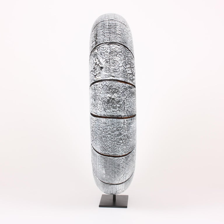 French Contemporary Wood Sculpture, Parasélène Blanc For Sale