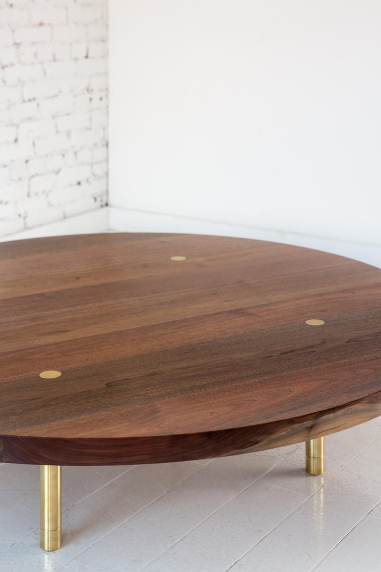American Contemporary Wood Strata Coffee Table in Walnut and Brass by Fort Standard For Sale