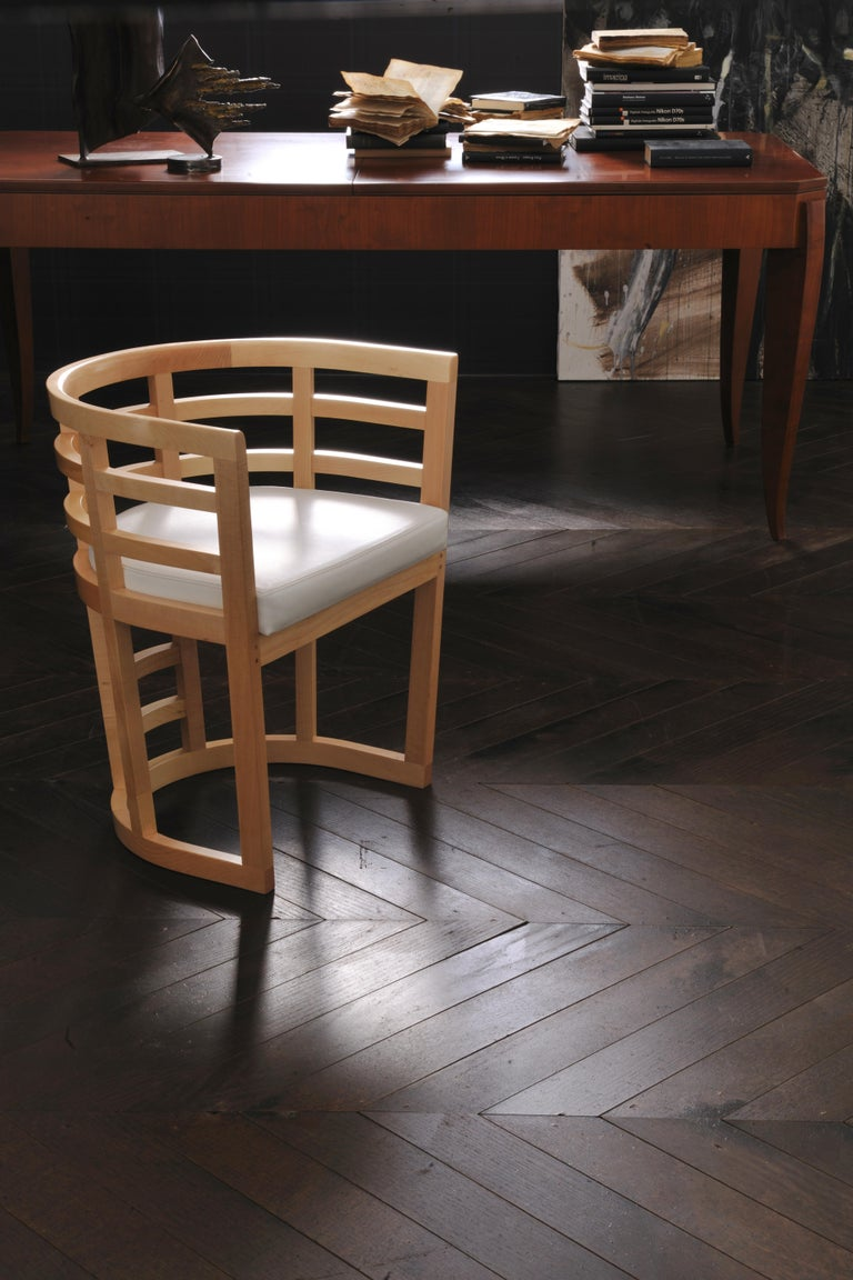 Italian Contemporary Armchair Made of Maple Wood with Padded Seat, design Franco Poli For Sale