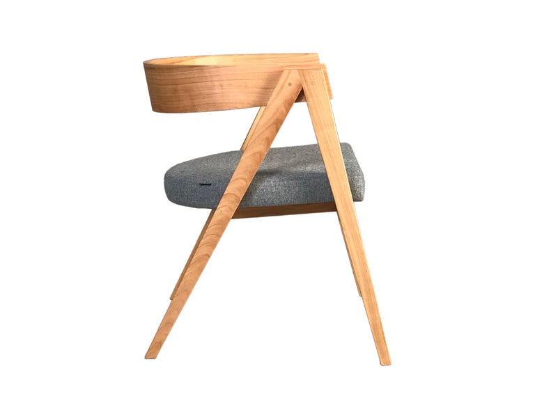 Italian Contemporary Wooden Armchair Made of Maple with Padded Seat and Curved Backrest For Sale
