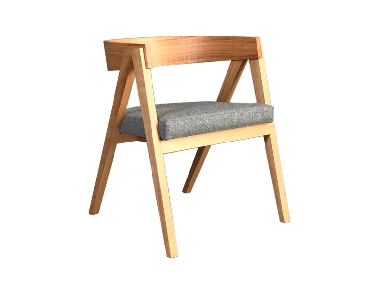 Leather Contemporary Wooden Armchair Made of Maple with Padded Seat and Curved Backrest For Sale