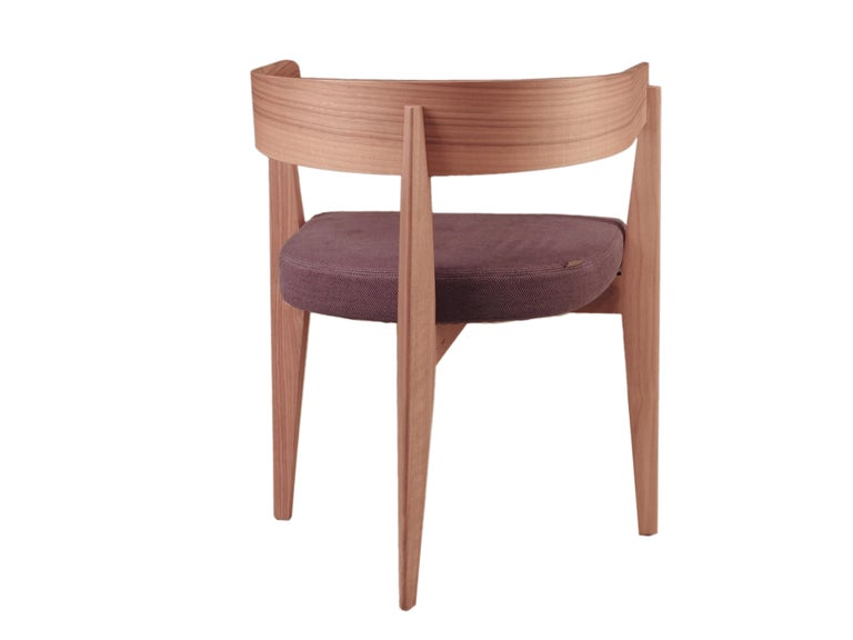 Contemporary Wooden Armchair with Padded Seat For Sale 1