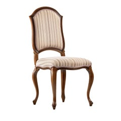 Contemporary Wooden Dining Chair with Striped Fabric