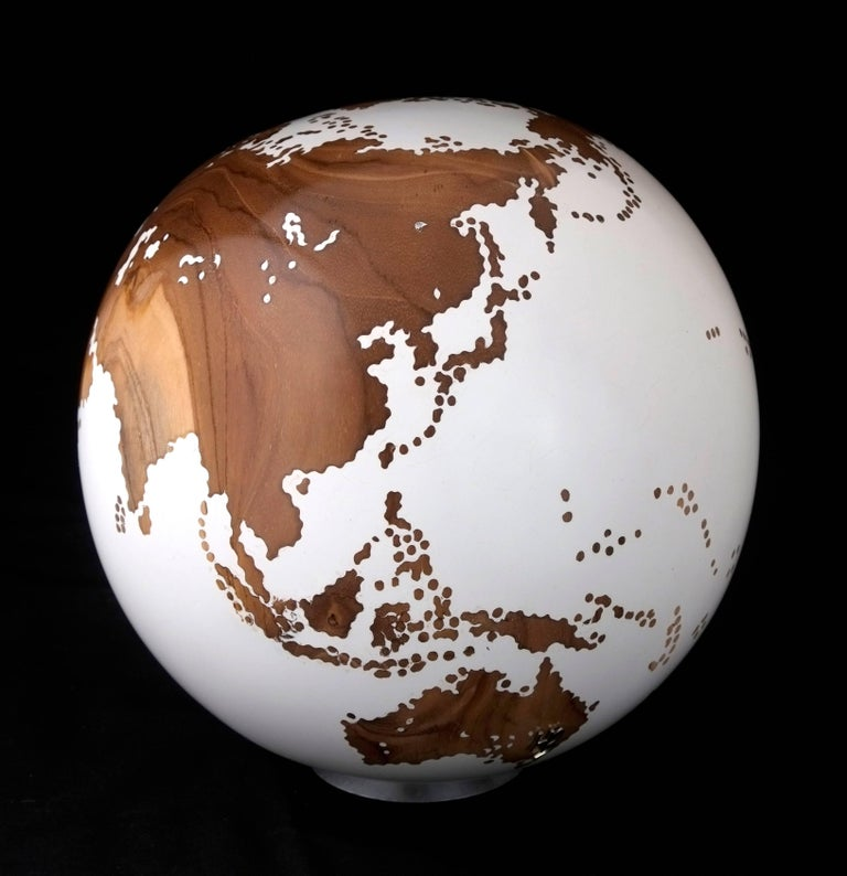 Organic Modern Contemporary Wooden Globe from Teak Root with Acrylic White Resin Finish, 20cm For Sale