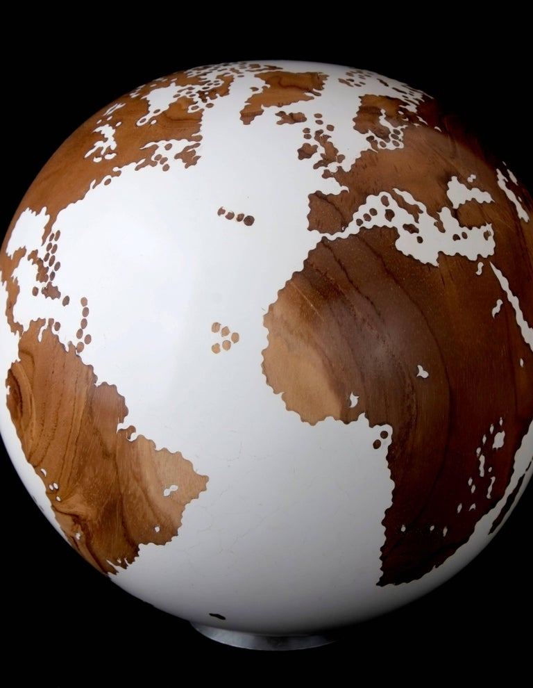 Appliqué Contemporary Wooden Globe from Teak Root with Acrylic White Resin Finish, 20cm For Sale