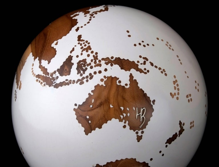 Contemporary Wooden Globe from Teak Root with Acrylic White Resin Finish, 20cm For Sale 1
