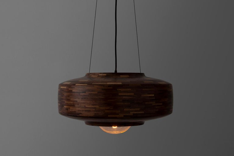 American Contemporary Wooden Pendant Light by Richard Haining, Oversized Bulb, Custom For Sale