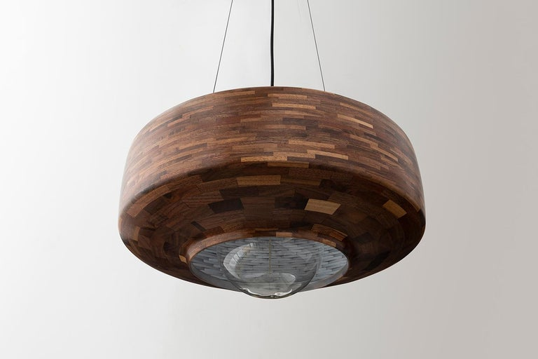 Contemporary Wooden Pendant Light by Richard Haining, Oversized Bulb, Custom In New Condition For Sale In Brooklyn, NY