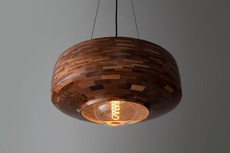 Contemporary Wooden Pendant Light by Richard Haining, Oversized Bulb, Custom For Sale 1