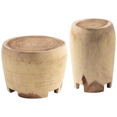 Set of Two Contemporary Wooden Side Tables Hand Carved Suar Wood