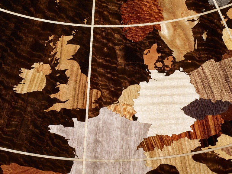 Blackened Contemporary World Map Center Table in Walnut with High Gloss Finish For Sale