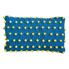 Contemporary Woven Blue Pillow with Yellow Beads