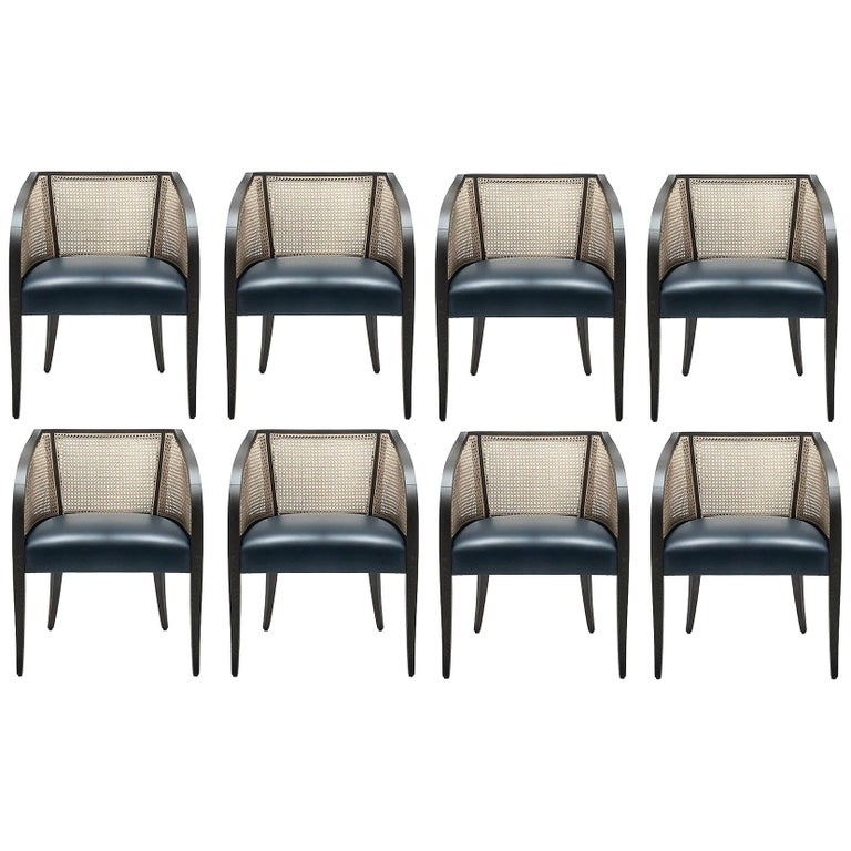 Contemporary Woven Cane Dining Chairs, Set of 8 For Sale