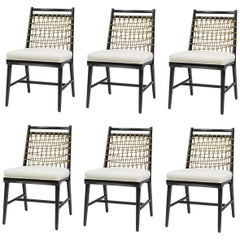 Contemporary Woven Natural Rope Dining Chairs, Set of 6