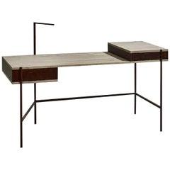 Contemporary Writing Desk, Etched Brass, Pivoting Doors Stone Elm Shelves/Walnut
