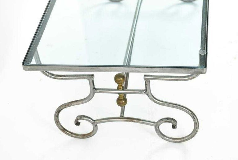 Modern Contemporary Wrought Iron and Glass Coffee Table For Sale