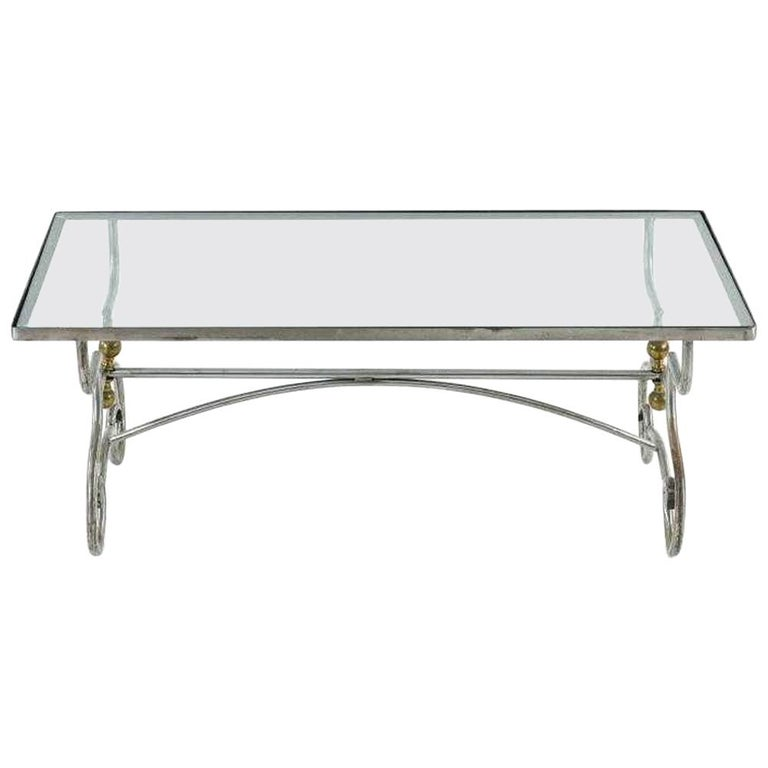 Contemporary Wrought Iron And Glass Coffee Table For Sale