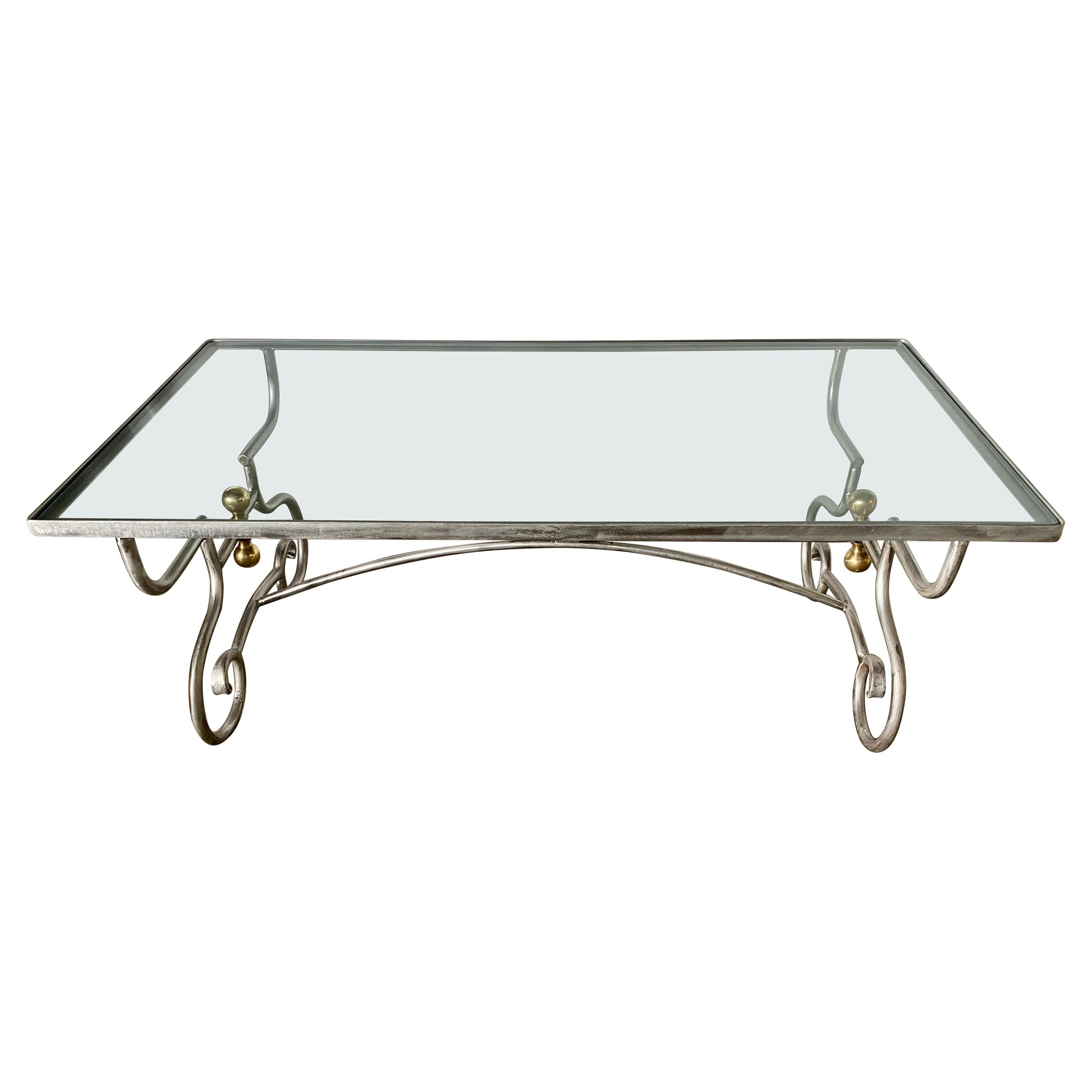 Contemporary Wrought Iron and Glass Coffee Table