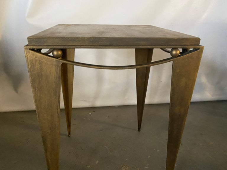 Mid-Century Modern Contemporary Wrought Iron Gold Tone Modern Side Table For Sale